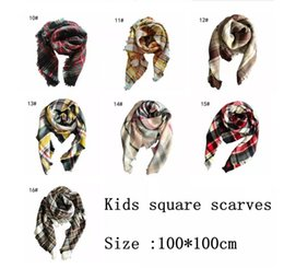 Wholesale Tartan Neck Warmer - Kids Plaid Scarf 100*100cm Tartan Scarf Neck Warmer Scarfs Boy Girl Children Lattice Tassels Scarf Shawl 16 Styles 40pcs