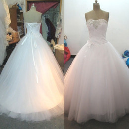 Wholesale Dresses Exquisite Flower - Stunning Cheap Ball Gown Wedding Dress Exquisite Beads Sequins Crystals Ruched Top Corset Handmade Flower Strapless Bridal Gowns