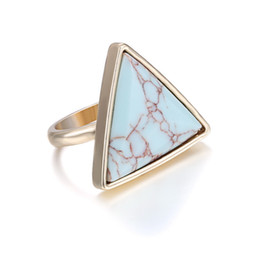 Wholesale Turquoise Stone White Gold Ring - Turquoise Ring Top Women Fashion Gemstone Rings Turquoise Blue White Stone 18K Gold Plated Wedding Rings