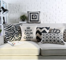 Wholesale Blue Pattern Cushion - Free shipping geometric zigzags chevrons checked plaid squares plus crown keep calm Carry on zebra pattern Cushion Cover throw pillow Case