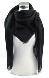 Wholesale Ladies Silk Scarves Shawls - Silk Wool All Solid Black Lady 140cm Square Shawl Women Wrap Scarf Muslim Hijab