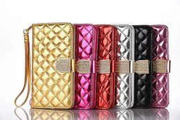 Wholesale Diamond Sheep Leather Case - Luxury Diamond Little Sheep Pattern Flip Leather Wallet Case with Card Slots Magnet for Iphone 5 6 7 7plus Samsung S6 S6 edge