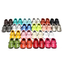 Wholesale Genuine Leather Baby First - (kids_store) Baby First Walkers Shoes Genuine Leather Tassels Moccasins Soft Leather Baby moccasins soft sole 22 colors