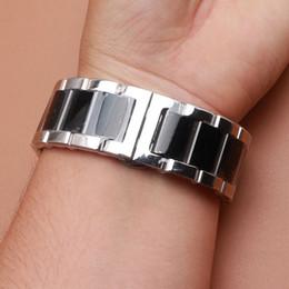 18 мм 20 мм 21 мм 22 мм 23 24 мм ремешок для часов браслет с пряжкой бабочка серебро и черный цвет полированный из нержавеющей стали металла смотреть пояса от Поставщики черный металл часы ремень 22mm