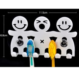 Wholesale Tooth Decor - Wholesale- Cute Design Smile Suction Hooks 5 Position Tooth Brush Holder Bathroom Sets Cartoon Sucker Toothbrush Holder for Home Decor