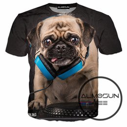 Wholesale Over Shirt Women S - Wholesale- ALMOSUN DJ Puppy Dog DJ Audio 3D All Over Print T Shirts Short Sleeve Hipster Summer Casual Wear Shirts Hip Hop Tee Women Men