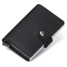 Wholesale Business Card Holder Aluminum Black - 2017 New Genuine Leather Credit Card Holder RFID Blocking Slim Mini Wallet Men Aluminum Credit Card Case Wallet ID Holders
