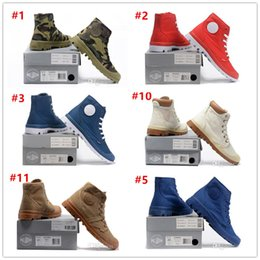Wholesale Cheap Comfortable Heels - 2017 Hot Sale! Brand Palladium Style Mens High Top Shoes New Homme Outdoor Comfortable Ankle Boots Hiking boots Cheap Size EUR 40-45