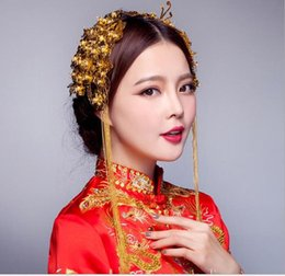 Wholesale Chinese Wedding Hair Accessories - Bride costume headdress Chinese wedding hair accessories suit Wo clothing accessories Longfeng gown accessories wholesaleShow Wo clothing Ch