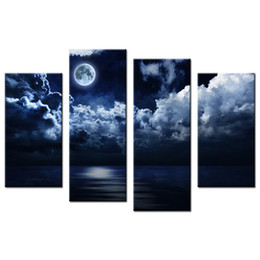 Wholesale Moon Cartoon Pictures - Moonlight Picture Giclee Prints Full Moon Canvas Printing Picture Decorative Canvas Artwork for Living Room and Bedroom 4-Panel