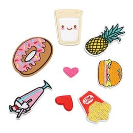 Wholesale Stickers For Clothe Cartoon - 8Pcs Set New Popcorn Drinks Hamburger Embroidered Patches Iron On Appliques Cartoon Stickers DIY Accessory For Garment Clothes