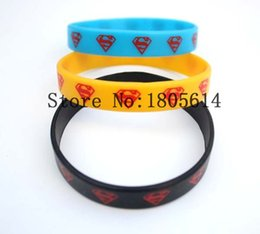Wholesale Free Gift Logo - Heat! New Superman logo sports wristbands 100% silicone Gym Fitness bracelet can be free wholesale 50pcs delivery