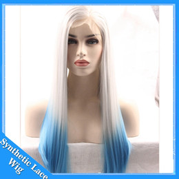 Wholesale Wig Blue Grey - Two Tone Ombre Blue Wig Silky Straight Synthetic Lace Front Wigs Long Grey White To blue Silky Straight Hair Synthetic Front Lace wigs