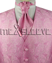 Wholesale Hot Pink Men S Vest - hot Free shipping 5 Button pink paisley Tuxedo Vest