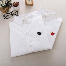 Wholesale Hearts Blouses - 2017 New Womens Ladies Spring Little Love Heart Embroidered Long Sleeve Blouse Casual Tops Shirt White