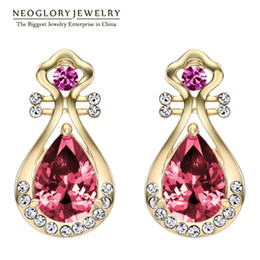 Wholesale Czech Crystal Jewelry Wholesale - aaa Zircon Czech Red Rhinstone Drop Earrings Fashion Fluorescent Neoglory Jewelry For Women 2017 Brand New