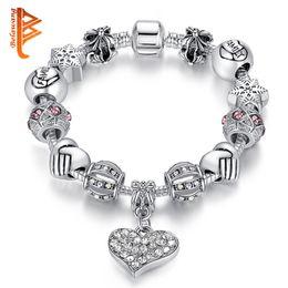 Wholesale Antique Snake Bracelet - BELAWANG Luxury Crystal Heart Pendant Charm Bracelets&Bangles Antique Silver Bracelets Jewelry Making For Family Jewelry Gift 18-20cm