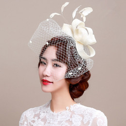 Wholesale Fascinator Accessories - Fascinator bridal headpiece wedding veils with feather wedding hair accessories headpieces for wedding party headdress party decoration