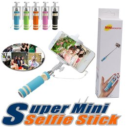 Wholesale Portable Handheld - Super Mini Wired Selfie Stick Foldable Handheld Portable Extendable Monopod Fold Shutter Self-portrait Stick Holder Compatible With Phone