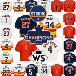 Wholesale Orange Patches - 27 Jose Altuve 4 George Springer Carlos Correa Jersey 34 Nolan Ryan Jeff Bagwell Craig Biggio 2017 Houston Strong WS Champions Patch Jerseys
