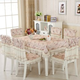 Wholesale Tablecloth Setting - Hot Sale 9 Pieces Set Cheap Lace Tablecloth For Wedding Party, New Arrival Home Table Linen Cloth Chair Cover Textile Decoration