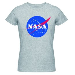 Wholesale Distressed T Shirts - Wholesale-New 2016 Summer Women's T Shirt Camiseta NASA T-Shirt Distressed Tee Discovery Apollo Astronaut Top Tee Shirt Gift For Men Women