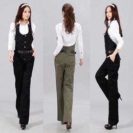 Wholesale Wide Leg Pants Trousers Jumpsuits - Wholesale- largos de mujer new casual Long Pant Jumpsuit Romper Playsuit wide-leg trousers office straight pants monos overalls for women