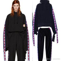Wholesale Brand Catwalk - Vetements Hoodies Men Women High Quality Embroidery Oversize Kanye West Hoodie Hip-Hop Catwalk Tracksuit Fashion Brand Hoodies+Pants