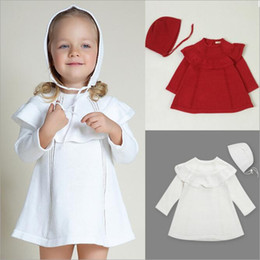 Wholesale Brand Baby Princess Dress - Ins Baby Dresses Girls Knit Cotton Dress Sweater Wool Dress Long Sleeve Princess Dress Kids Party Christmas Boutique Clothes With Cap B2354