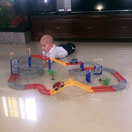 Wholesale Electric Car Toy Baby - Car Track Electric Set Baby Educational Toys Splicing Multilayer Rail Train Gift Car Kids Boys Toys Scale Models
