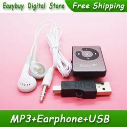 Argentina Al por mayor-10pcs / lot Nuevo estilo Mini Mirror Clip Card Reader Reproductores de música MP3 son compatibles con tarjetas Micro SD / TF con EarphoneMiNi USB cheap 1gb usb mp3 player Suministro