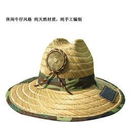 Wholesale Solar Panel Hats - Popular fashion outdoor solar straw hat Pure handmade sunshade leisure take fan to take 2 pieces of solar panels