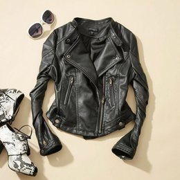 Wholesale Leather Cropped Woman Biker Jacket - New Fashion Women Faux Leather;Zip-Up,Cropped PU Leather Jacket, Biker Jacket