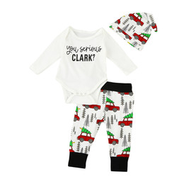 Wholesale Newborn Clothing Hats - Boys Girls Baby Christmas Rompers Clothing Sets Cotton long Sleeve Newborn Romper Car printed Pants Hats 3 Pcs Set Toddler Infant Clothes