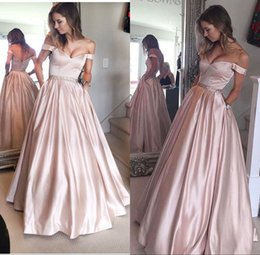 Wholesale Juniors Satin Gowns - Pearl Pink Puffy Off-the-Shoulder Prom Party Gowns for Juniors 2017 with Pockets Beading Floor Length Prom Dress Evening Wear