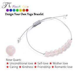 Wholesale Luck Stones Wholesale - Wholesale- TL Natural Stone Bracelet Meditation Hand-knitted Luck Yoga Bracelet Rose Quartz Healing Crystal Bracelet For Gift Free Shipping