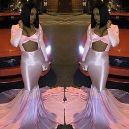 Wholesale women long evening silk dress - 2k17 Pink Mermaid Prom Dresses Sexy Open Front Long Sleeves Sweep Train Evening Gowns Black Girl Formal Party Dress Women Formal Wear