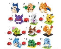Wholesale Intelligence Box Toy - 12 Styles Poke pikachu 3D puzzle building blocks Diamond blocks Cartoon Poke intelligence educational toys Birthday gifts with gift box DHL
