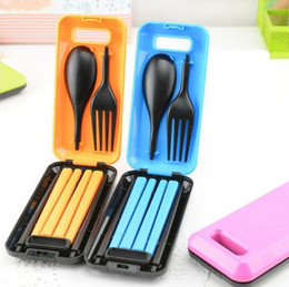 Wholesale Portable Plastic Cutlery Sets - HOT 1Set Portable Travel Kids Adult Cutlery Travel Fork Tableware Dinnerware Sets Camping Picnic Set Gift For Child Kids