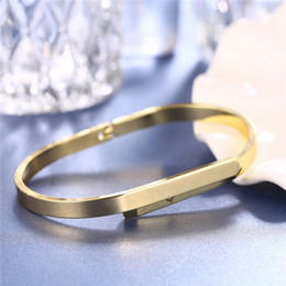 Wholesale Oval Id Bracelet - New America classic style simple design ID bracelet copper metarial women's 18k oval latest bangle designs in gold