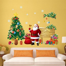 Wholesale Children Christmas Sticker - fashion Creative DIY Christmas decorations wall sticker for child room Carved Removable Windows Decorating art Sticker Decor 2017 Wholesale