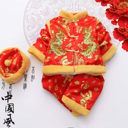 Wholesale Chinese Dress Cosplay - Wholesale- 3 Sets Ssangyong Boys Costume Children Cotton Suits Cotton Baby Clothes Hundred Year Old Chinese Style Dress Halloween Cosplay