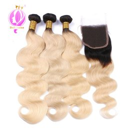 Wholesale Dyed Peruvian Lace Closure - DOHEROINE Pre-Colored Body Wave Human Hair Bundles With Closure 4*4 Lace Closure 3 Bundles Human Hair T1B 613 Blond Ombre Color