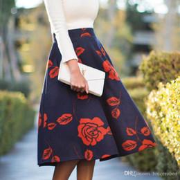 Wholesale Embroidery Denim Skirts - Winter high wasit skrit 2016 new winter women's clothing fashion Elegant rose printed A-line tutu skirt