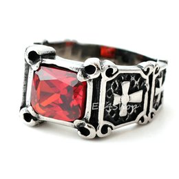 Wholesale Ruby Grades - Men's Vintage Classic Biker Christian Cross Ruby Red CZ 316L Surgical Grade Stainless Steel Ring US Size 7-14