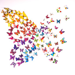 Wholesale Home Kitchen Decor - 3D Butterfly Wall Stickers 12PCS Decals Home Decor for fridge kitchen room living room home decoration