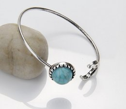 Wholesale Cheap Tin - Brand Designer Fashion Lady Turquoise Bangles Women Boutique Moon Shape Round Stone Cuff Bangles Silver Cheap Bangle