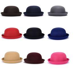 Wholesale Children Stingy Brim Hats - Autumn Winter Top Hat for Ladies and Children Faux Wool Bucket Hat Women Boys Girls Child Kids Dome Cap British Hat GH-34