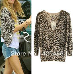 Wholesale Leopard Print Sweater Top - Wholesale- New Fashion Women's Celeb Leopard Print Casual Tunic Cardigan Knitwear Sweater Tops Free Shipping