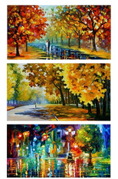 Wholesale Tree Life Panel Painting - Color painting The trees Street lamp Lovers rain,Pure Handpainted ART Oil Painting On High Quality Canvas,Free Shipping,customized size DHzh